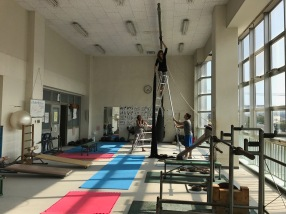 Taking down the silks at the Saza gym. The end of an era.