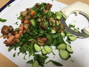 Halfway done chopping my salad.