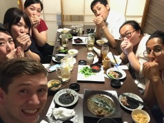 Dinner with work friends. We were trying to whistle with our hands.