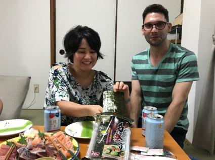 Tomoko and Dan getting ready to make some more makizushi