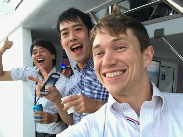 Ogushi, Fujino, and me on the outside of the boat