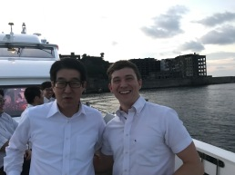 Director Matsukawa and I in front of Gunkanjima