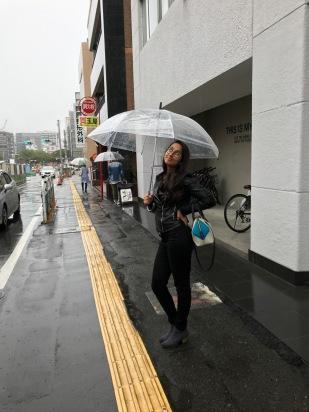 Model in the rain