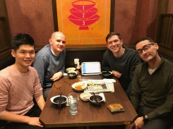 Dinner with Anthony, Mark, and Yuuya. Anthony and Mark just finished taking the JLPT!