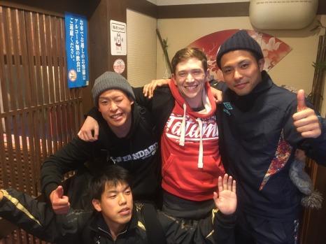 Tournament after-party with my training partners (clockwise from the bottom: Iwamoto, Yoshida, and Hisamatsu)