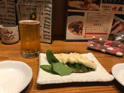 Japanese appetizer: Sliced avocado topped with wasabi mayo. Really sets off the beer. 10/10