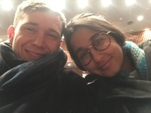 still bundled up in the theater