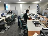 My desk is the one to the right of Ms. Sadamatsu.